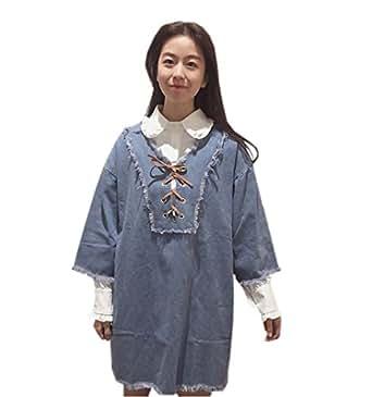 DaBag-Frühling Mädchen Freizeit Kleider Loose Denim-Kleid Fünfte Hülse Students Jeans Kleid (One size, Blau-1)