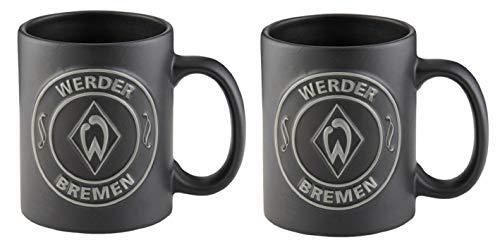 Werder Bremen 2er Set Tassen Relief Logo schwarz Tee/Kaffeebecher 0,3 Liter -