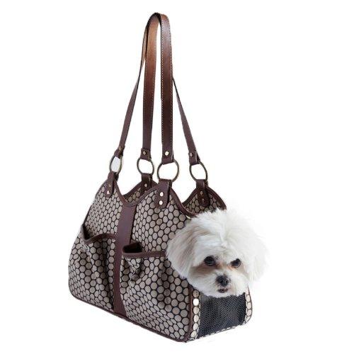 Petote Metro Couture Hundetragetasche mit Lederbesatz, Größe S, Braun (Hundetragetasche Handtasche Designer)