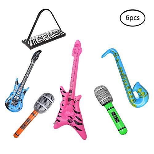 Wenosda 6 stücke Inflatables Gitarre Saxophon Mikrofon Beth Tastatur Musikinstrument Blow Up Ballon Rock Star Spielzeug für Party Dekoration Prop (zufällige Farbe) (Rock Mic Star)
