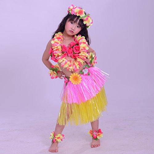 MagiDeal-Set8pcs-Falda-de-Danza-de-Hierba-Hula-Hawaiana-de-Nias-Pulsera-de-ManoDiadema-de-Pelo-para-Fiesta-de-Halloween-Disfraz-Rosado-Longitud-30