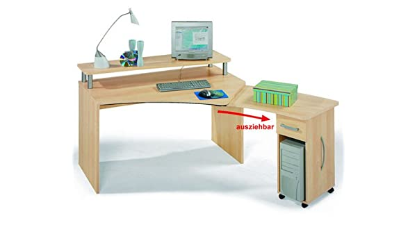 Welle Allround PC Schreibtisch mit Aufsatz zum Ausziehen ahorn buche ...