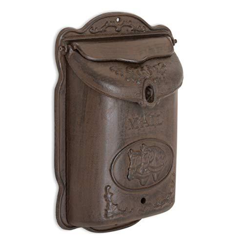 Antikas - Briefkasten mit Pferd, schöner Nostalgie Postkasten Wand-Briefkästen antik-braun