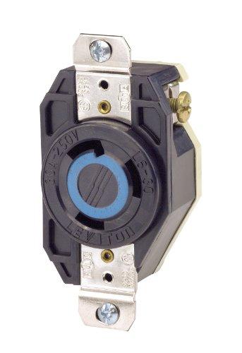 Leviton 2620 30 Amp, 250 Volt, Flush Mounting Locking Receptacle, Industrial Grade, Grounding, V-0-MAX, Black by Leviton Leviton Flush