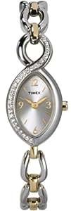 Timex Womens 28 swarovski crystal 2 Tone bracelet - T2M843PF