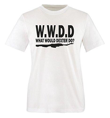 WHAT WOULD DEXTER DO - Herren Unisex T-Shirt Weiss / Schwarz