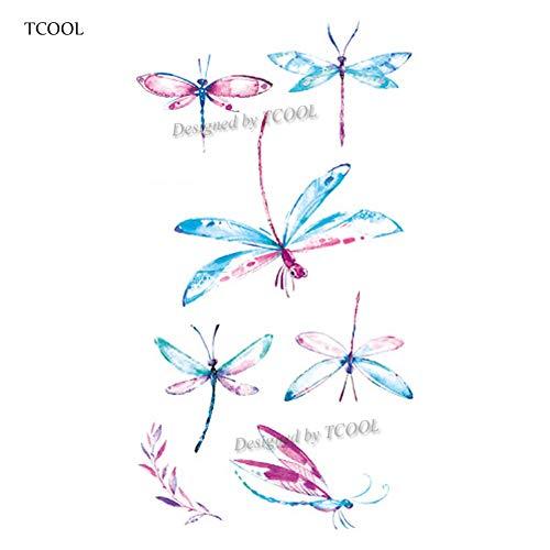 QWERTYUI Tattoo Aufkleber Libelle Frauen Temporäre Tätowierung Aufkleber Tattoos Für Männer Mode Kinder Kinder Hand Tatoo 10,5X6 cm
