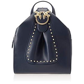 Pinko Alkan Backpack Vitello Seta, Women's Backpack, Blue (Blu Iride), 15x29x25 cm (W x H L)