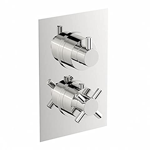 ENKI Concealed Thermostatic Shower Valve Mixer Round Cross Handle 2