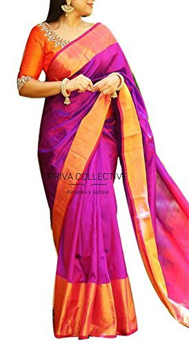 Fashion Flowerz Original Andhra Uppada Pure Silk Sarees With Blouse For Women Multicolors
