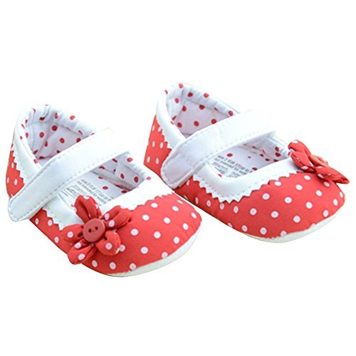 Suaves Waylongplus Baby Girl Prewalker Verão Flor De Algodão Únicos Sapatos De Bebê Anti-derrapante Vermelho