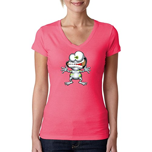 Fun Sprüche Girlie V-Neck Shirt - Crazy Frog by Im-Shirt - Light-Pink L (Crazy T-shirts Frog)