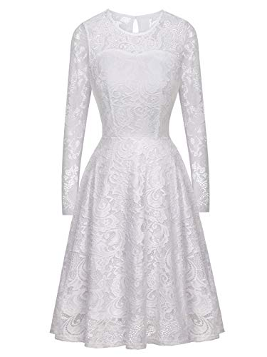e47557c184 Woman S Short Vintage Floral Lace Dress with Long Sleeve for Party Wedding  Cocktail(M