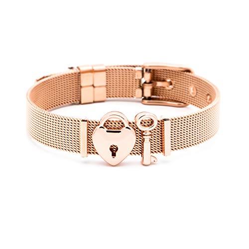 THIORA® - Mesh Armband Damen | Individuelle Anhänger Charms | Edelstahl | Charmband Set Frauen | Silber Rosegold Gold Bracelet (Unlocked Love - Rosegold) (Charms Gold Armband)