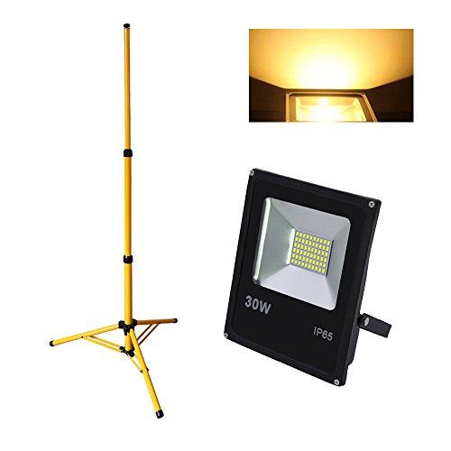 Hengda® 30w LED Fluter Warmweiß mit Teleskop Stativ Baustrahler