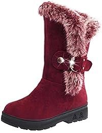 Botas de nieve para mujer Botas de nieve blanda con punta redonda Botas de tobillo con piel de invierno zycShang