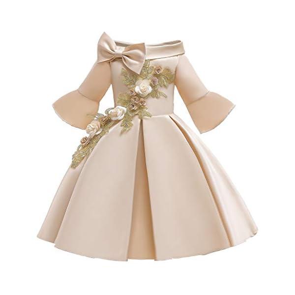 Vectry Navidad Vestido De Niñas Princesa Vestido Floral Niñas Princesa Dama De Honor Desfile Vestido Fiesta De… 1