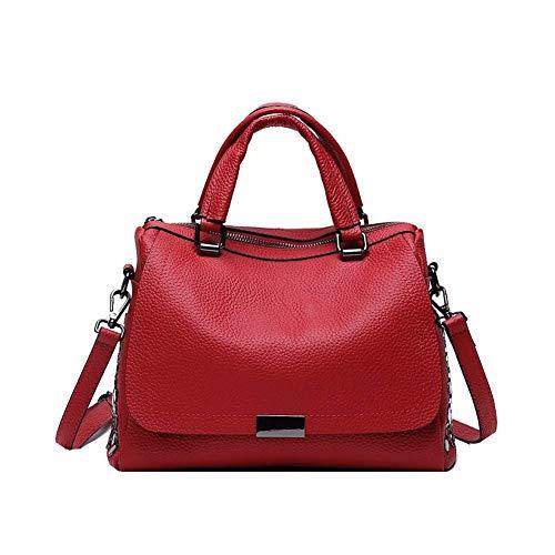 FRYP Schultertasche aus weichem Leder für Damen - Einkaufstasche mit großem Reißverschluss-red