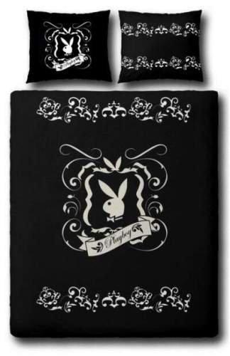 Playboy 8715944071215 Bettwäsche - Tattoo 155 x 220 cm und 80 x 80 cm, Polyester Microfaser schwarz/Weiss