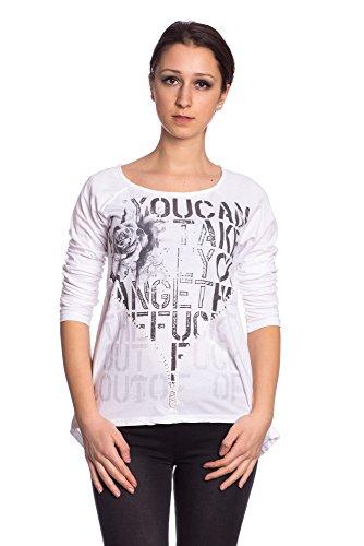 Abbino 716615 Chemisiers Blouses Tops Femmes Filles - Fabriqué en Italie - 4 Couleurs - Transition Printemps Été Automne Plaine Chemises Elegante Vintage Classique Casual Sexy Fashion Blanc