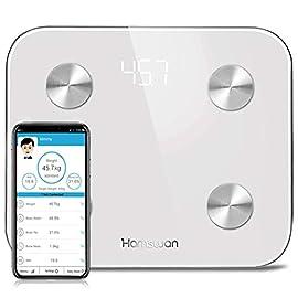 HAMSWAN Bilancia Impedenziometrica Bilancia Pesa Persona Digitale Massa Grassa Bluetooth Misura Precisa di Peso, Massa…