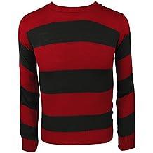 Jersey de punto a rayas para disfraz, para adultos y niños multicolor Red/Black Jumper Mujer: M/L