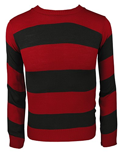 Freddy Womens Kostüm - TrendyFashion Herren Sweatshirt Mehrfarbig Red/Black Jumper Womens M/L(UK 12-14)