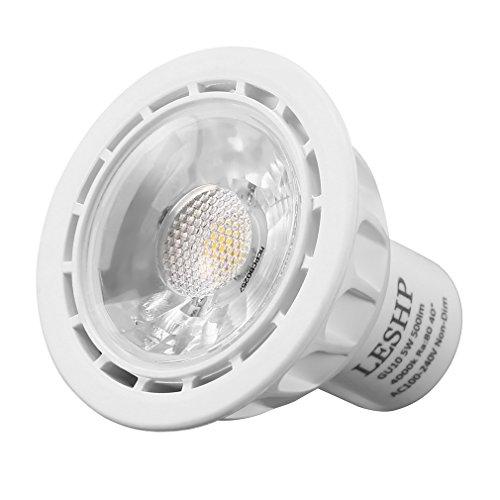 leshp 10Stück GU10LED Leuchtmittel 5W nicht dimmbar LED Strahler Einbauleuchte, 50Watt-Halogen Leuchtmittel Ersatz, AC100-240V 4000K weiß 500lm, 40° Abstrahlwinkel [Energieeffizienzklasse A +]