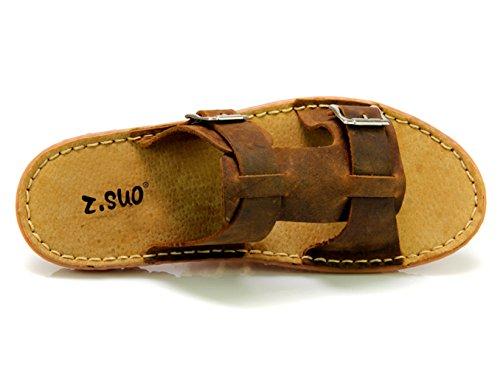 Insun Herren Sandaletten Slingback Normal Flach Peep-Toe Pantoletten Sandalen Braun