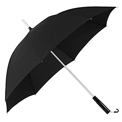 Umbrella, PLEMO Black Umbrella with Flashlight & 7-Color LED Rainbow Shaft with LED Torch in Handle