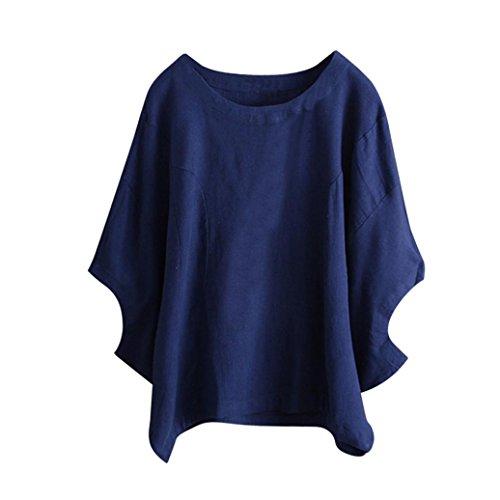 ESAILQ Damen Sommer Frauen Bluse Weg von der Schulter Short Sleeve Feder Druck Muster Jumper Tops Pullover T-Shirt(M,Blau)