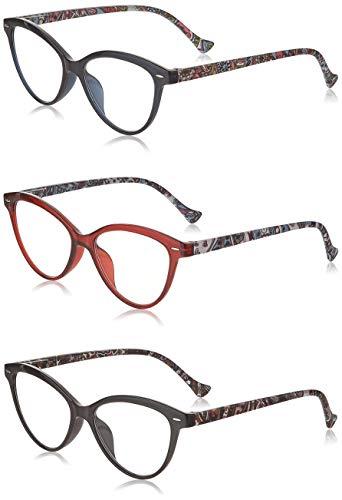 JM 3 Pack Mode Designer Katzenauge Lesebrille Federscharnier Brillen für Leser Damen +2.0 Mischfarbe