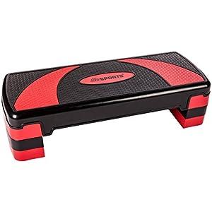 ScSPORTS Stepper Aerobic Fitness Steppbrett, 3-Fach höhenverstellbar, 78 x 30 x 10/15/20 cm, schwarz rot
