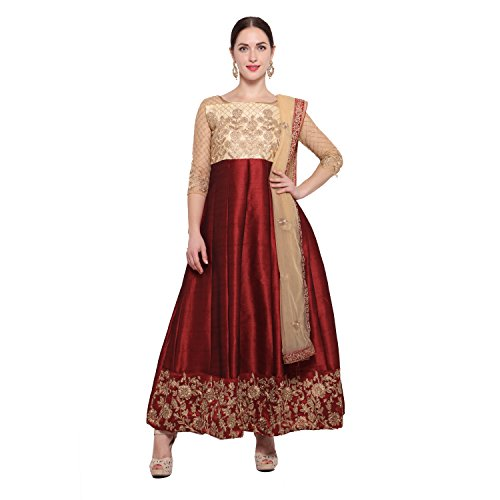 BND Fashions Maroon Bangalory Silk Embroidered Anarkali Suit for women(6262)