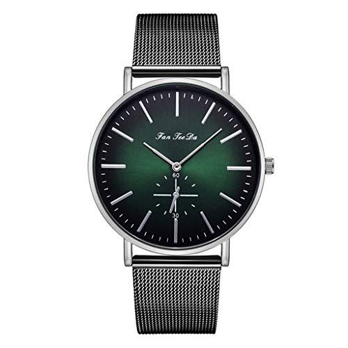 KiyomiQvQ Herren Uhren Mode Farbverlauf Zifferblatt Uhr(Lila,Grün) Männer Einfach Business Armbanduhren Netz Band Freizeit Wristwatch Elegant Charmant Quarz Chronograph