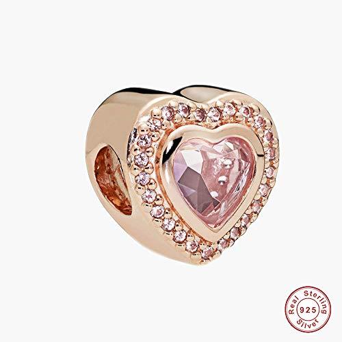 MOCCI 2018 Herbst Rose Rosa Kristall Funkelnde Liebes Herz Perle 925 Silber DIY Passt für Original Pandora Armbänder Charme Modeschmuck