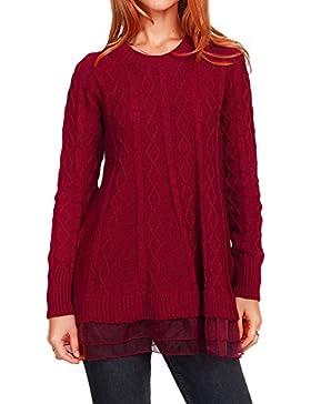 Mujeres costura gasa Pullover De Cuello Redondo Manga Larga Falda de punto de cable Rojo