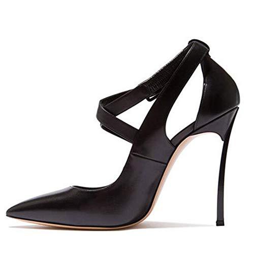 Patent Leder Knöchel Gurt (Lindarry Pumps für Frauen Stiletto Verstellbarer Knöchelriemen Peep Toe Spitz Premium Leder 10cm Metall Heeld Sandalen Sexy Kleid Schuhe Mode (Color : Schwarz, Size : 39 EU))