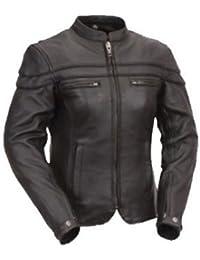Australian Bikers Gear–Sturgis (Tour–Mujer de moto chaqueta de piel–Protectores negro Large