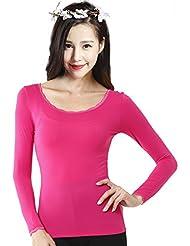 XMQC*La Sra. ropa interior térmica fina franja de puntillas para otoño Yi solo T-shirts son negro, magenta ,XL