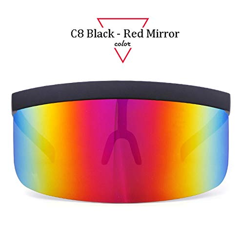 ADSGFH SunglassesWomen's Oversized Visor Sunglasses Ladies Retro Windproof Glasses Men's Visor Flat Top GlassesC8 Red Mirror