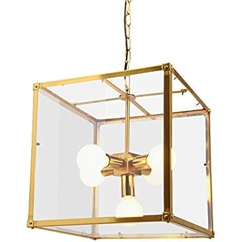 MSUXT lampade a sospensione Loftiron Art Nouveau Ristorante Box di vetro Creative Living Room Light Coffee Shop personalità oro di vetro 40cm*40cm