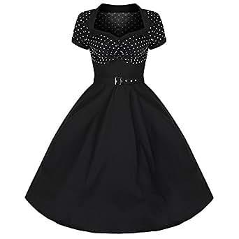 Pretty Kitty Fashion 50s Schwarz Weiß Polka Dot Retro Kleid (xxxxl = 48, Schwarz)
