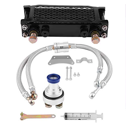 KIMISS Kit raffreddamento radiatore olio motore moto Radiatore per CB CG 100CC-250CC(65ML- nero)