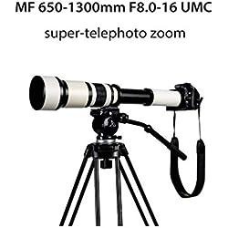 Téléobjectif 650-1300Mm F8.0-16 Super Zoom Manuel + Adaptateur T2 pour Canon Nikon Sony DSLR Et Mirrorless Miroir Astronomique Blanc