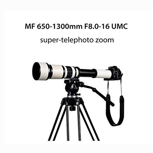 Tele 650-1300Mm F8.0-16 Super Manuell Zoom Objektiv + T2 Adapter Für Canon Nikon Sony DSLR & Spiegellose Kameras Astronomischer Spiegel Weiß
