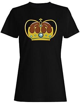 Novedad divertida del arte de la reina del rey de la corona camiseta de las mujeres a581f