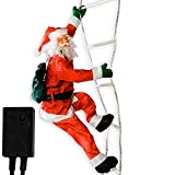 Weihnachtsmann auf Leuchtleiter, verstellbar, Gesamthöhe 240 cm, für innen und außen, 8 Leuchtprogramme