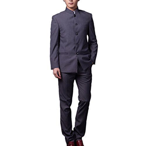Zhuhaitf Style Décontracté Mens Chinese Tang Suit 2PCS Tunic Suit Outwear Dark Gray