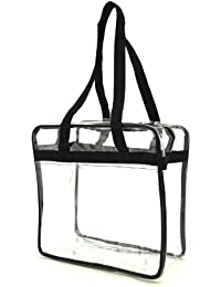 Nfl Approved Clear Tote Bag/ Clear Work Tote Bag/ Security Tote Bag, Black